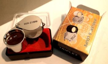 New old stock boxed stainless steel Triplet 30 x 21mm jewellers loupe. P&P Group 1 (£14+VAT for