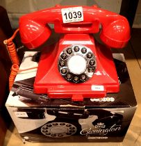 Red, GPO Carrington, push button telephone in 1920s styling with pull-out pad tray; compatible
