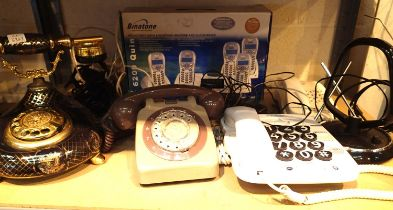 Mixed vintage telephones including Rotary push button and wireless sets. Not available for in-