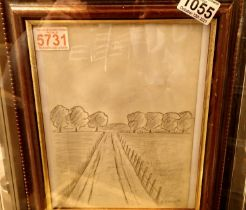 Framed pencil sketch of a countryside road after LS Lowry. Not available for in-house P&P, contact
