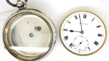 925 silver cased, key wind pocket watch, twelve jewel movement dial and movement marked H. Samuel,