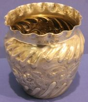 Victorian hallmarked silver pot with repousse floral decoration, Birmingham assay 1896, possibly
