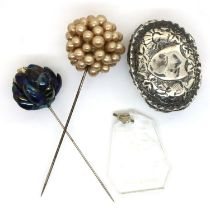 Damaged hallmarked silver trinket box and two Edwardian hat pins. P&P Group 1 (£14+VAT for the first