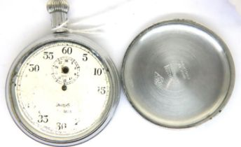Smiths; a military issue chrome case pocket watch, D: 50 mm, not working at lotting, requires