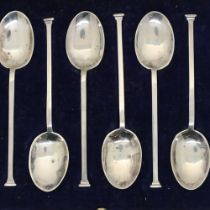 Boxed set of six hallmarked silver teaspoons, Sheffield assay. Not available for in-house P&P