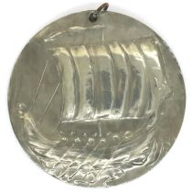 Arts and Crafts style Viking ship pendant c1930, D: 63 mm. P&P Group 1 (£14+VAT for the first lot