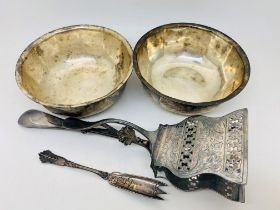 Silver plated pair of asparagus severs, pair of Elkington bowls and a pickle fork. P&P Group 2 (£