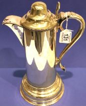 Large silver plated lidded flagon, H: 34 cm. P&P Group 3 (£25+VAT for the first lot and £5+VAT for