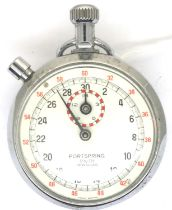 Portspring; a chrome cased stopwatch, dial D: 57 mm, not working at lotting. P&P Group 1 (£14+VAT