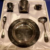 Boxed Christofle silver plated Christening set. P&P Group 1 (£14+VAT for the first lot and £1+VAT
