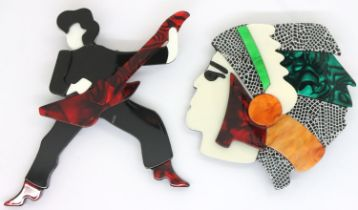 Two Arts and Crafts type brooches, largest L: 12 cm. P&P Group 1 (£14+VAT for the first lot and £1+