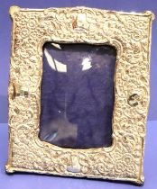 Hallmarked silver Edwardian easel back photograph frame 18 x 22 cm, picture size 9.5 x 13.5 cm. P&