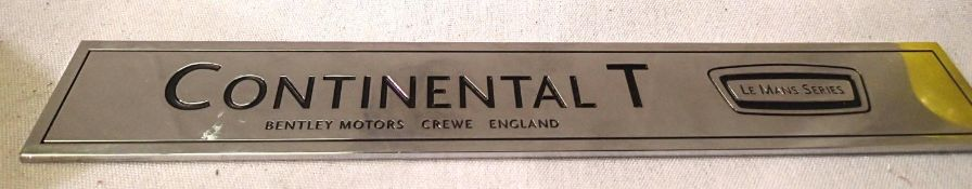 Bentley Continental chrome badge. P&P Group 1 (£14+VAT for the first lot and £1+VAT for subsequent