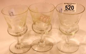 Set of three Thistle shape Arrowsmiths Glenlivet advertising whisky glasses. Not available for in-