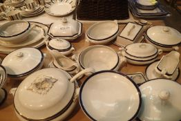Blue and white dinner service including lidded tureens. Not available for in-house P&P, contact Paul
