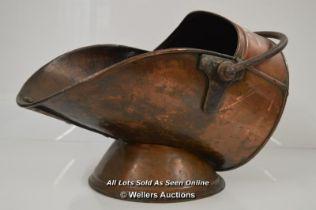 VICTORIAN COPPER COAL SCUTTLE BY BULPITT & SONS BIRMINGHAM 1900, APPROX 30CM TALL , WITHOUT SHOVEL