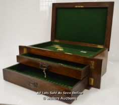 *LARGE CUTLERY CANTEEN BOX,2 DRAWERS,COLLECTORS CABINET DISPLAY CASE,OLD / 46.5 X 31 X 19CM [