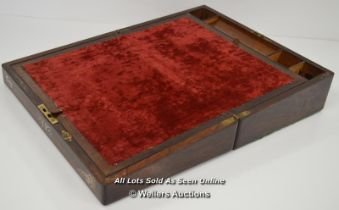 *ROSEWOOD WRITING SLOPE WITH MOTHER OF PEARL INLAID, WORKING KEY [LQD197]