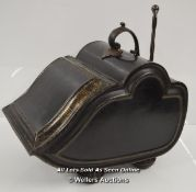 *ANTIQUE METAL COAL SCUTTLE WITH SHOVEL [LQD197]