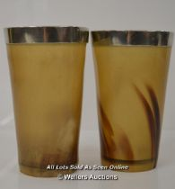 *2 X VINTAGE LARGE ANTIQUE HORNED HORN BEAKER CUPS WITH SILVER (PLATED) RIM [LQD197]