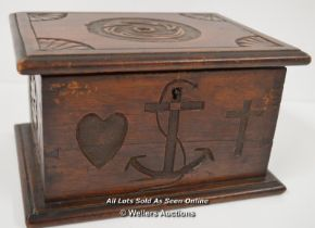 """*FOLK ART WOODEN BOX WITH HAND DOVETAILING AND PEG JOINTS. HAND CARVING TO FOUR SIDES WITH THE """""""