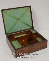 *VICTORIAN MAHOGANY WOOD BOX SILK LINED TRAY SEWING WITH DRAWERS / 26X21X9CM [LQD197]