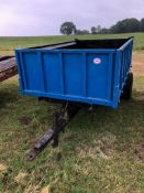TIPPING TRAILER, HIGH SIDES AND HEAVY DUTY METAL FLOOR