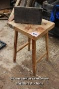 *WOODEN STOOL AND FOOTSTOOL, STOOL 76CM HIGH