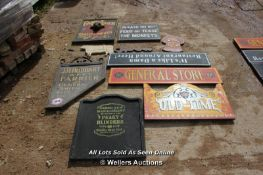 *TEN VARIOUS WOODEN SIGNS INCLUDING 'THE PEAKY BLINDERS' AND 'THE LOCKSMITH'