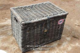 *WICKER STYLE BLANKET BOX, 71CM X 51CM X 50CM