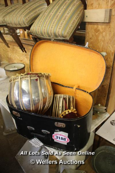 *PAIR OF BONGO DRUMS IN A CASE