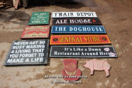 *TEN VARIOUS WOODEN SIGNS INCLUDING 'DO NOT MAKE EYE CONTACT WITH THE GORILLA'