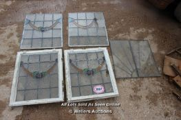*FOUR VARIOUS STAINED GLASS WINDOWS, TWO WITH FRAMES