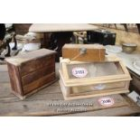 *THREE WOODEN CASES INCLUDING A DISPLAY CASE