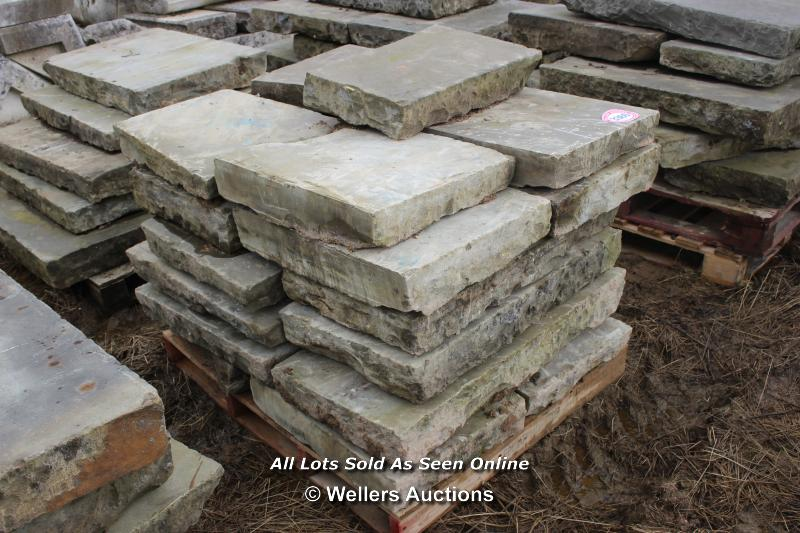 *PALLET OF OIL LEAKED YORKSTONE SLABS, APPROX 6 SQ MTRS