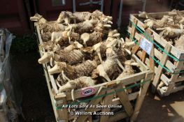 *PALLET OF APPROX 50 CARVED WOODEN SHEEP