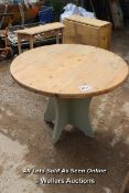 *CIRCULAR PINE TOPPED TABLE TABLE (TOP NOT ATTACHED), 106CM DIAMETER