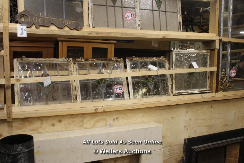 *FOUR STAINED GLASS CRITTAL WINDOWS, THREE 41CM X 41CM, ONE 51CM X 51CM