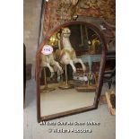 *WOODEN FRAMED OVAL TOPPED MIRROR, 75.5CM X 105CM HIGH