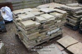 *PALLET OF SMALL YORKSTONE SLABS, APPROX 13 SQ MTRS
