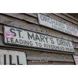 *METAL STREET SIGN 'ST MARY'S DRIVE', 123CM X 23CM