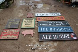 *TEN VARIOUS WOODEN SIGNS INCLUDING 'TRAIN DEPOT' AND 'GROCERY COMPANY AND MORE'