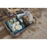 *CRATE OF VARIOUS WOODEN ANIMALS TOGETHER WITH TEA CUPS AND SAUCERS