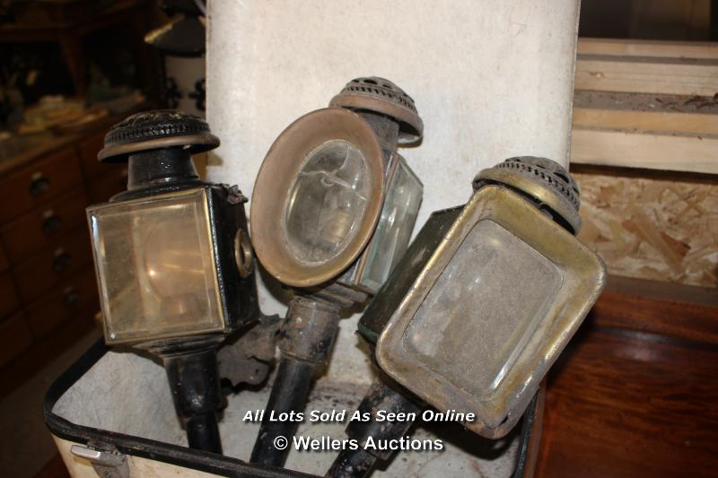 *THREE VINTAGE COACH LAMPS - Image 2 of 2