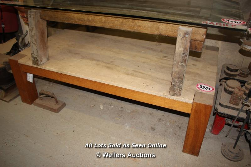 *TRAVERTINE TOPPED COFFEE TABLE, 140CM X 80CM X 40CM - Image 2 of 2