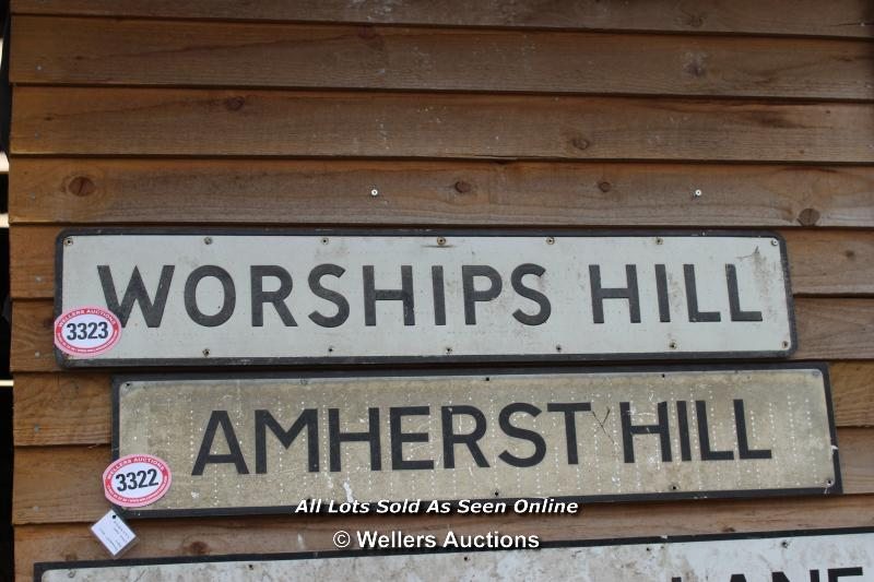 *METAL STREET SIGN 'WORSHIPS HILL', 124CM X 23CM