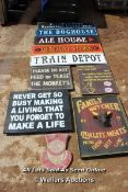 *TEN VARIOUS WOODEN SIGNS INCLUDING 'PLEASE DO NOT FEED THE MONKEYS' AND 'THE TRAIN DEPOT'