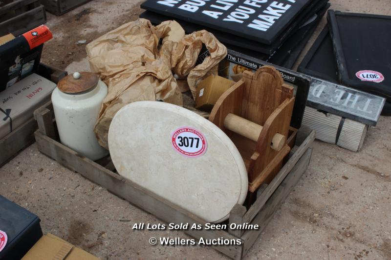 *CRATE OF VARIOUS BYGONES INCLUDING A BISCUIT JAR AND A TOILET HOLDER