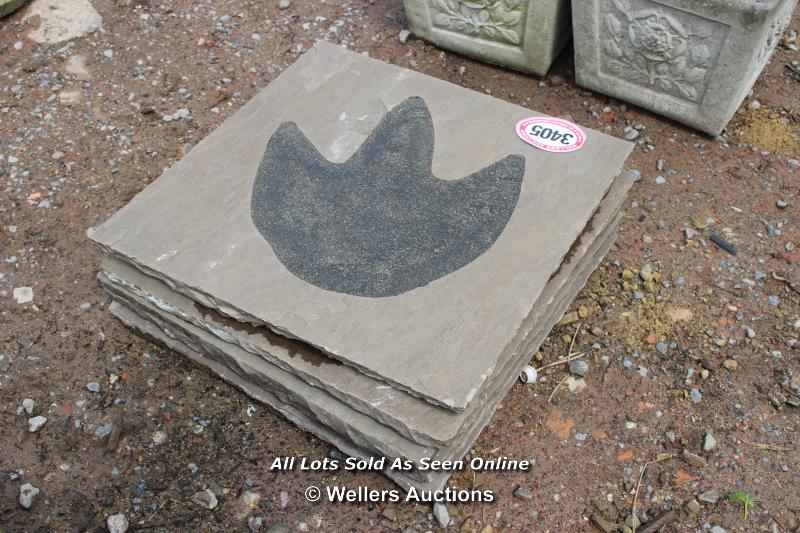 *FIVE SLABS DECORATED WITH A DINOSAUR FOOT ON EACH, APPROX 56CM X 56CM