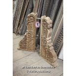 *PAIR OF LARGE CARVED WOODEN CORBELS, 80CM HIGH